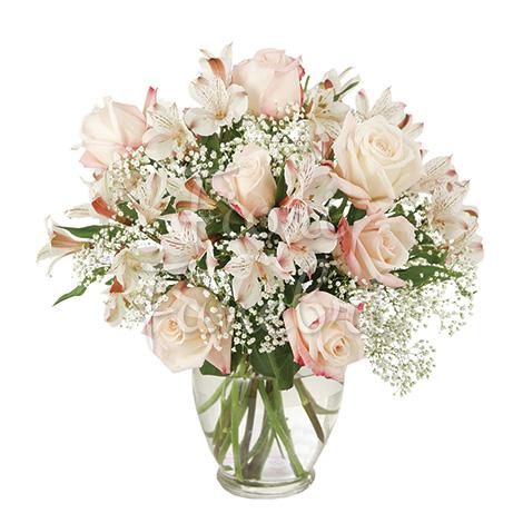 bouquet-rose-alstromeria-bianchi