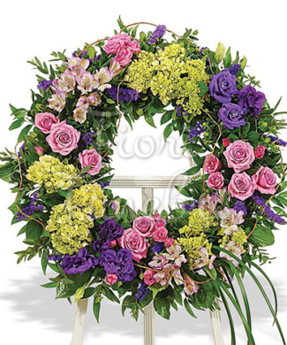 corona-rose-rosa-garofani-viola-fiori-gialli
